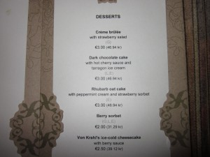 Von Krahl's desserts some of which are vegan