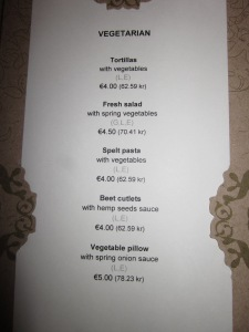Von Krahli Aed Vegetarian menu options - some of which are vegan as well