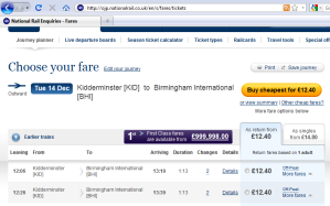First class fares from GBP 1m