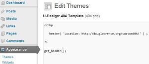PHP code to redirect to custom404 page