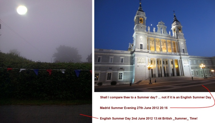 Compare English summer day with Madrid summer evening